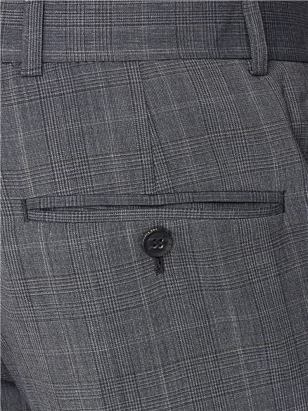 Smoked Grey Textured Check Suit Trouser