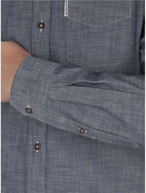 Navy Long Sleeve Chambray Texture Shirt