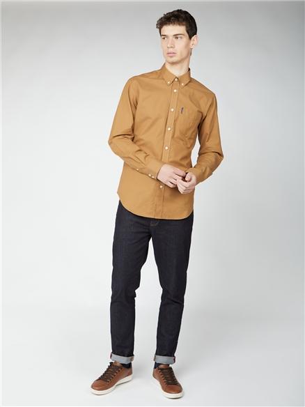 Camel Long Sleeve Oxford Shirt