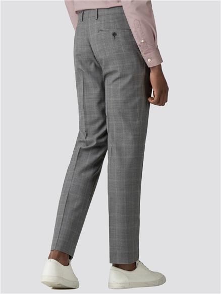 Grey Windowpane Check Trousers