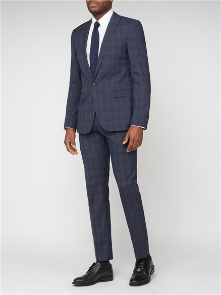 Blue with Navy Overcheck Slim Fit Suit