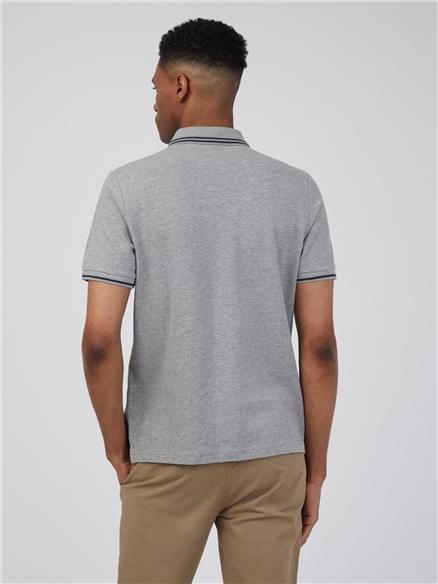 Grey Marl Romford Tipped Polo Shirt