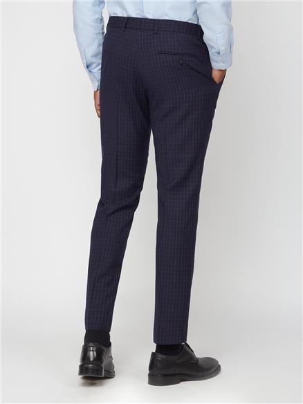 Navy Mini Check Skinny Trouser