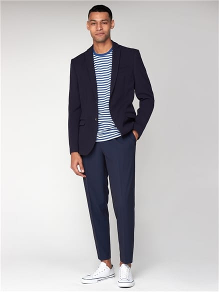 Navy Brushed Texture Unstructured Slim Suit