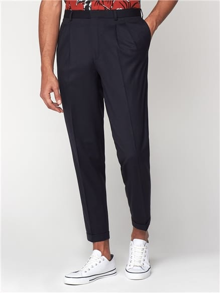 Midnight Navy Structure Relaxed Trousers