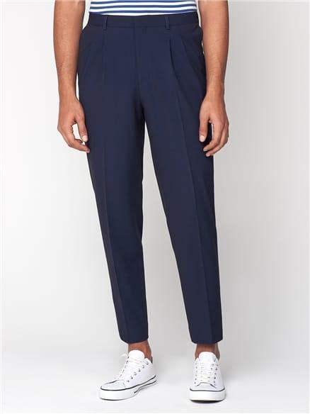 Navy Seersucker Relaxed Trousers
