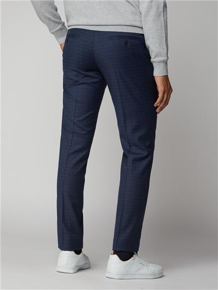 Blue Mod Micro Check Suit Trouser