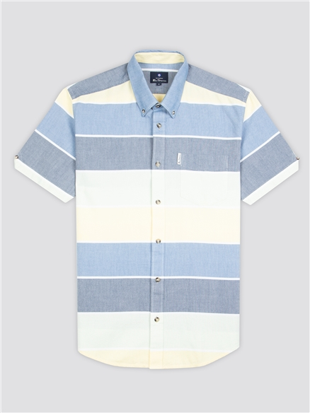 Blue Engineered Striped Shirt