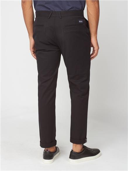 Black Slim Stretch Cotton Chinos