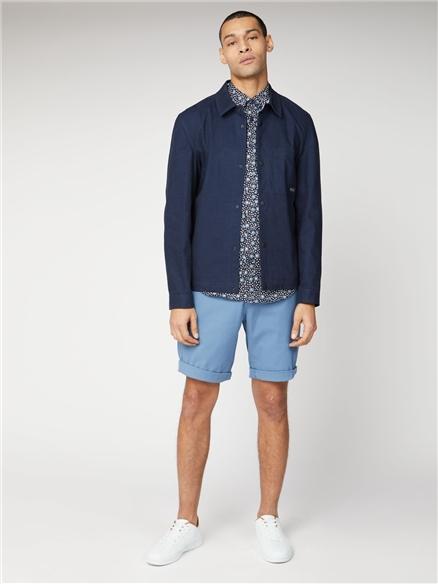 Marine Blue Cotton Chino Shorts