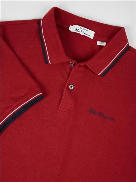 Red Organic Signature Polo Shirt