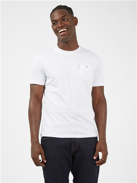White Signature Tee with Chest Pocket