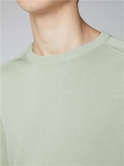 Pale Green Signature Cotton Crew Neck Jumper