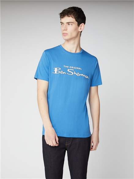 Blue Signature Logo Print Tee