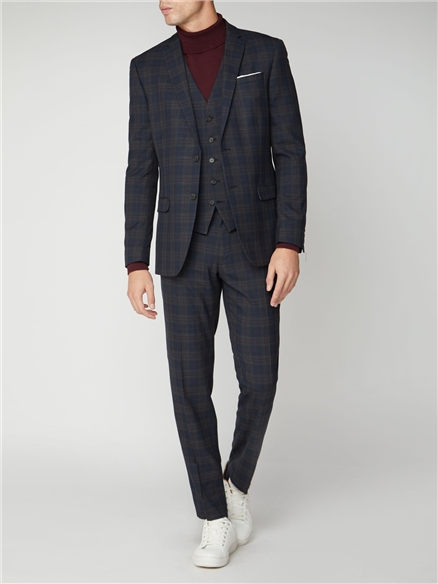 Navy Red Check Slim Fit Suit