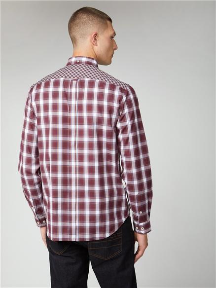 Burgundy & Blue Mixed Check Shirt