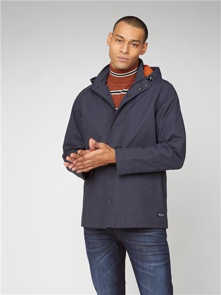 Ben Sherman Hooded Navy Blue Coach Jacket