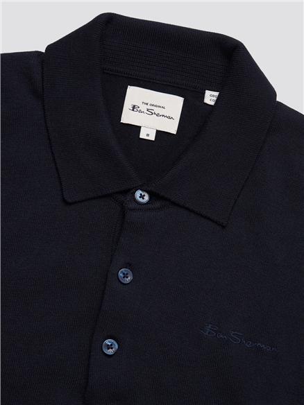Dark Navy Long Sleeve Knitted Polo
