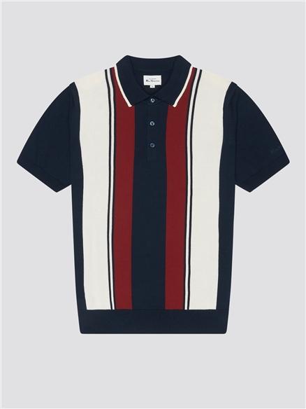 Mod Stripe Knitted Polo Shirt