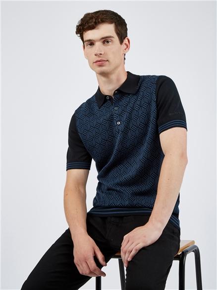 Black Knit Jacquard Polo Shirt