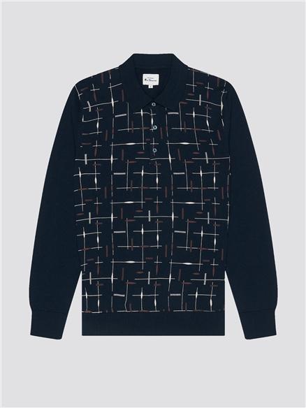 Dark Navy Patterned Printed Polo Shirt