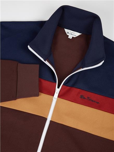Bordeaux Red Colour Block Tricot Zip Through