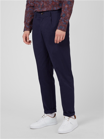 Marine Twill Relaxed Taper Pleat Trouser