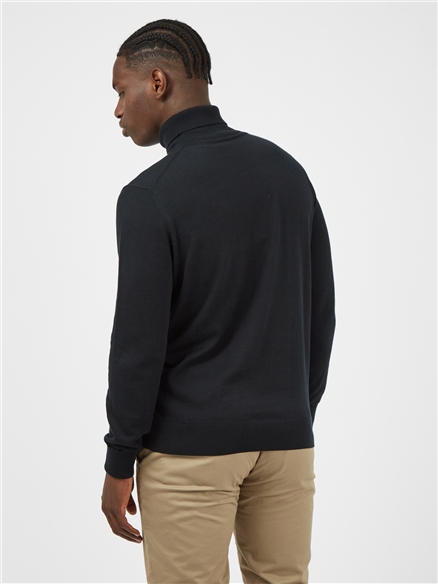 Black Cotton Signature Knitted Roll Neck Jumper