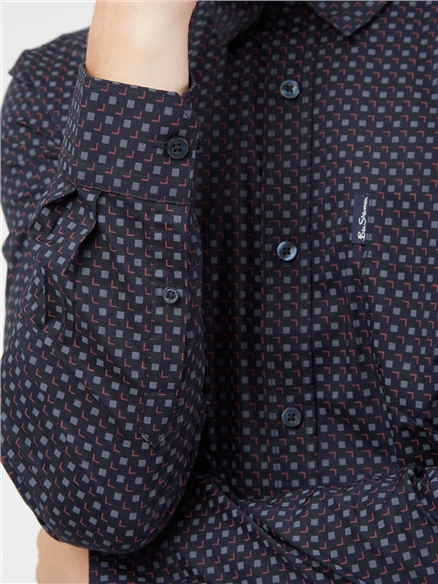 Midnight Long Sleeved Scatter Square Print Shirt