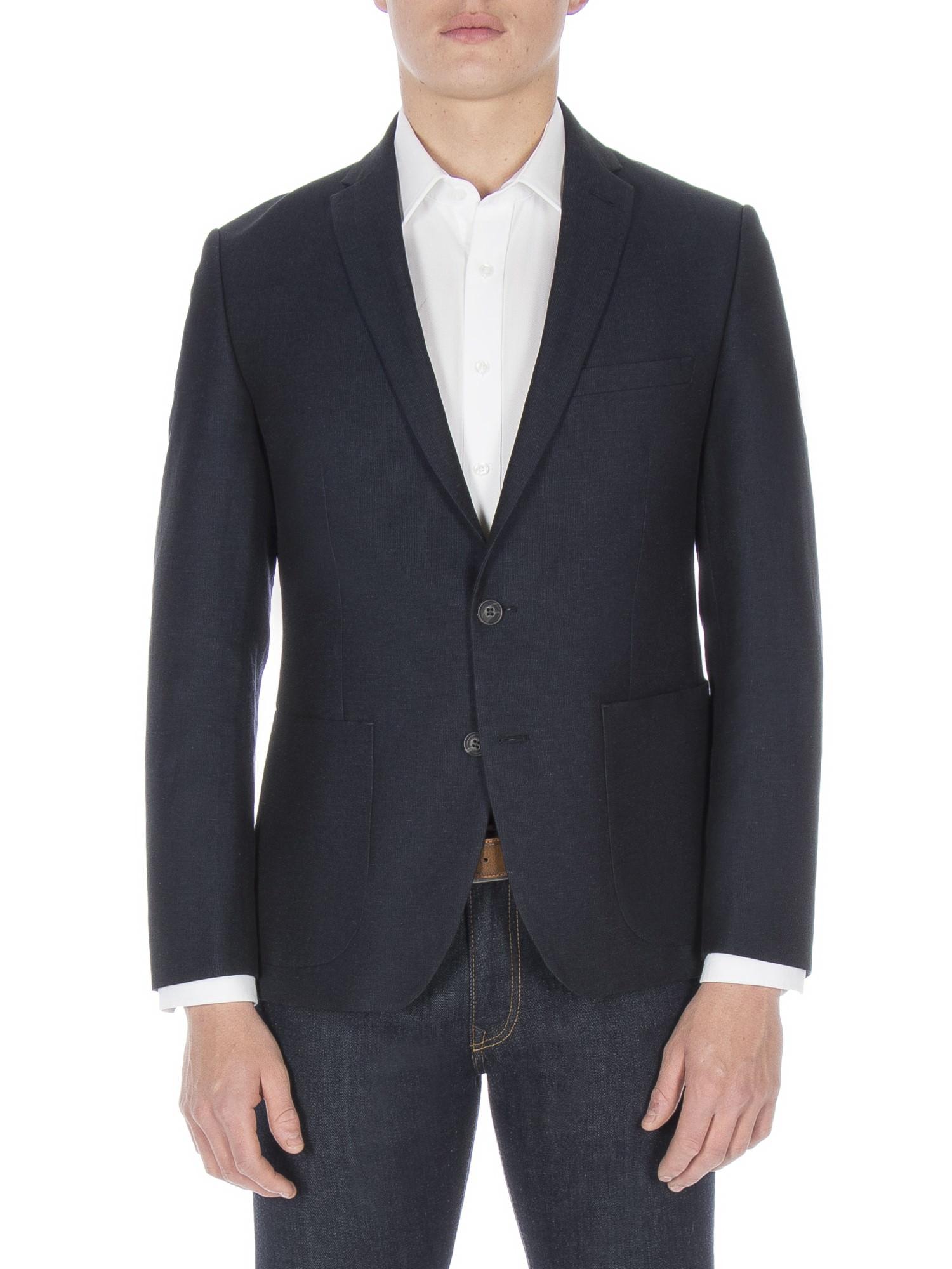Navy Textured Linen Jacket