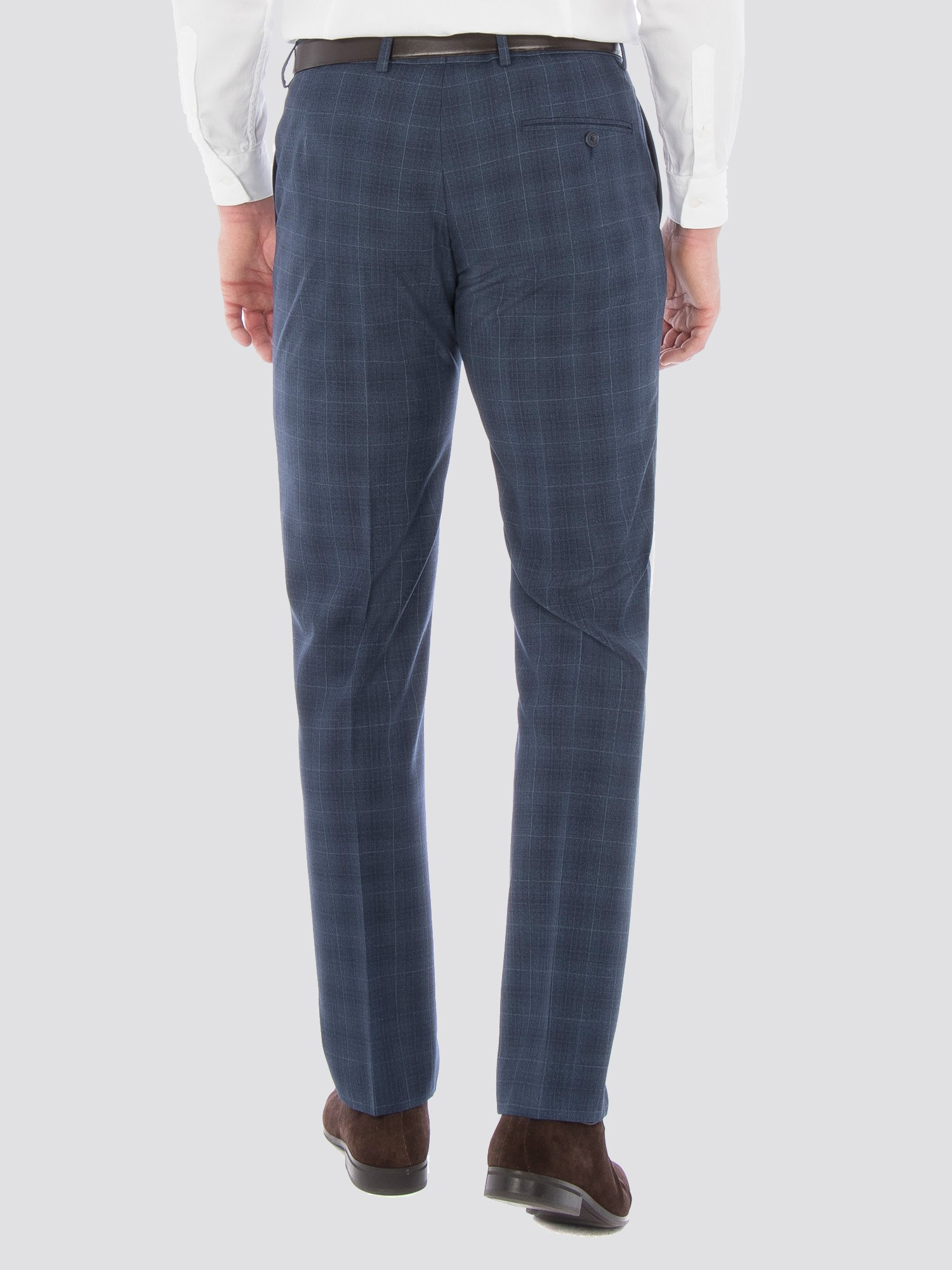 Airforce Blue Wool Blend Slim Trouser