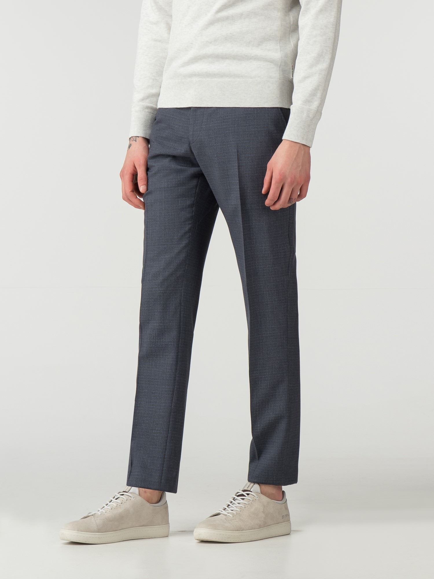 Smoked Grey Crosshatch Effect Camden Fit Trouser