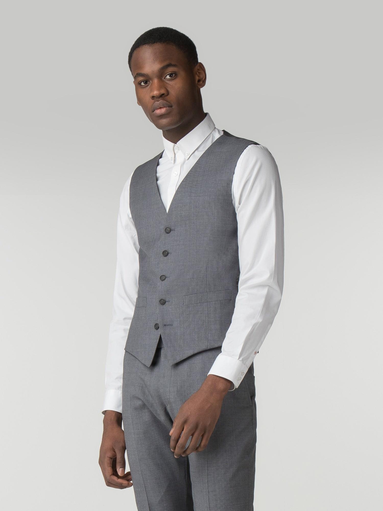 Smoked Grey Blue Micro Camden Fit Waistcoat