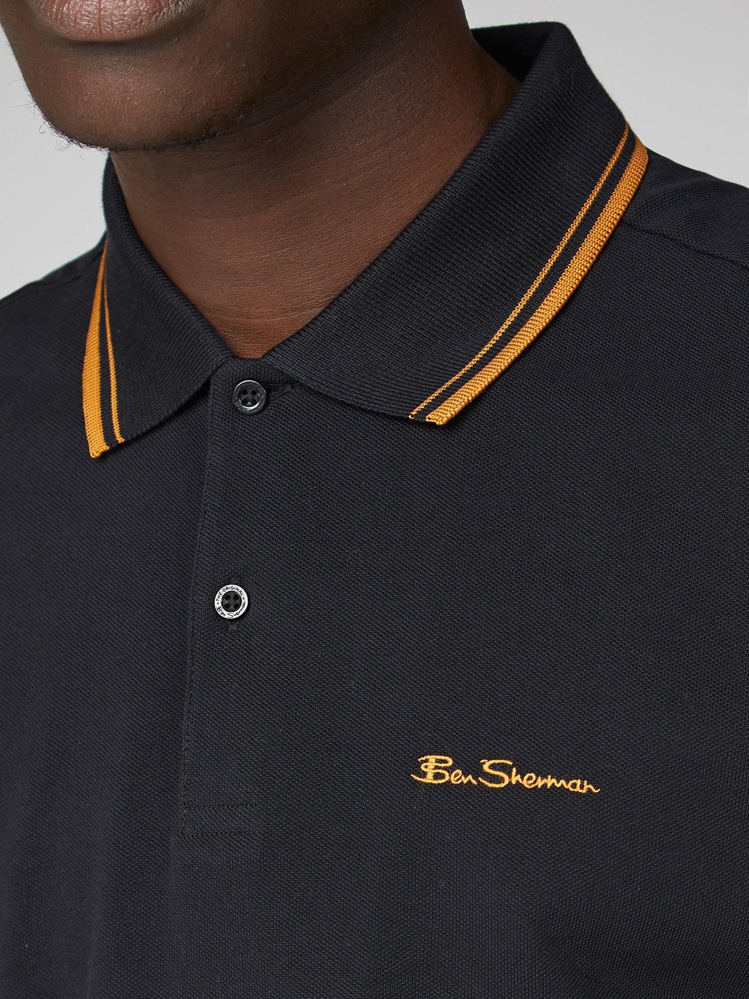 Black & Yellow Romford Tipped Polo Shirt