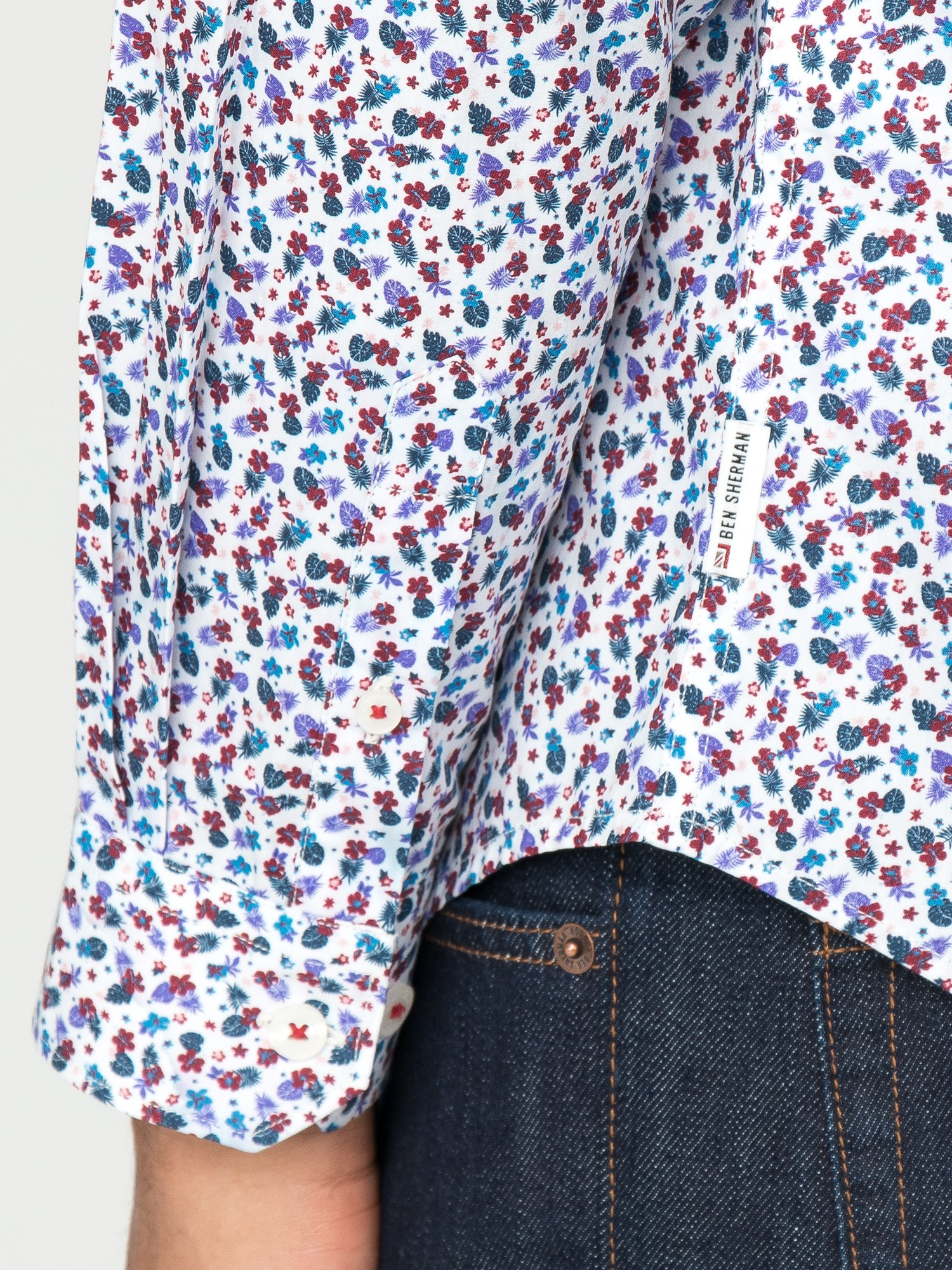 White Floral Long Sleeved Shirt