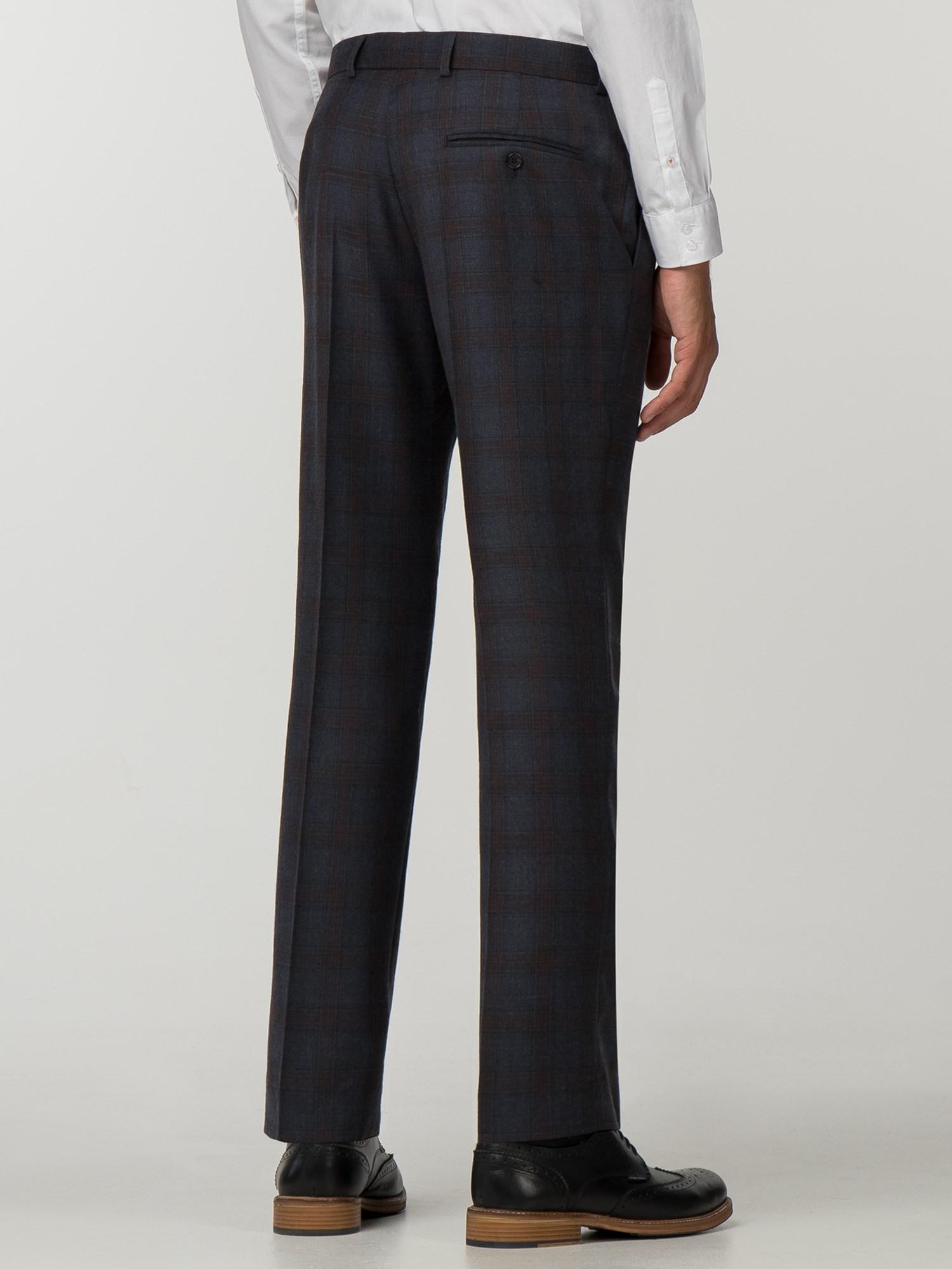 Navy Rust Check Slim Fit Suit Trouser
