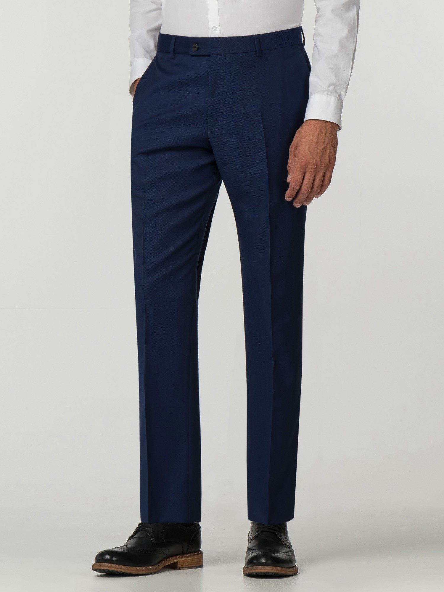 Blue Textured Big And Tall Suit Trouser