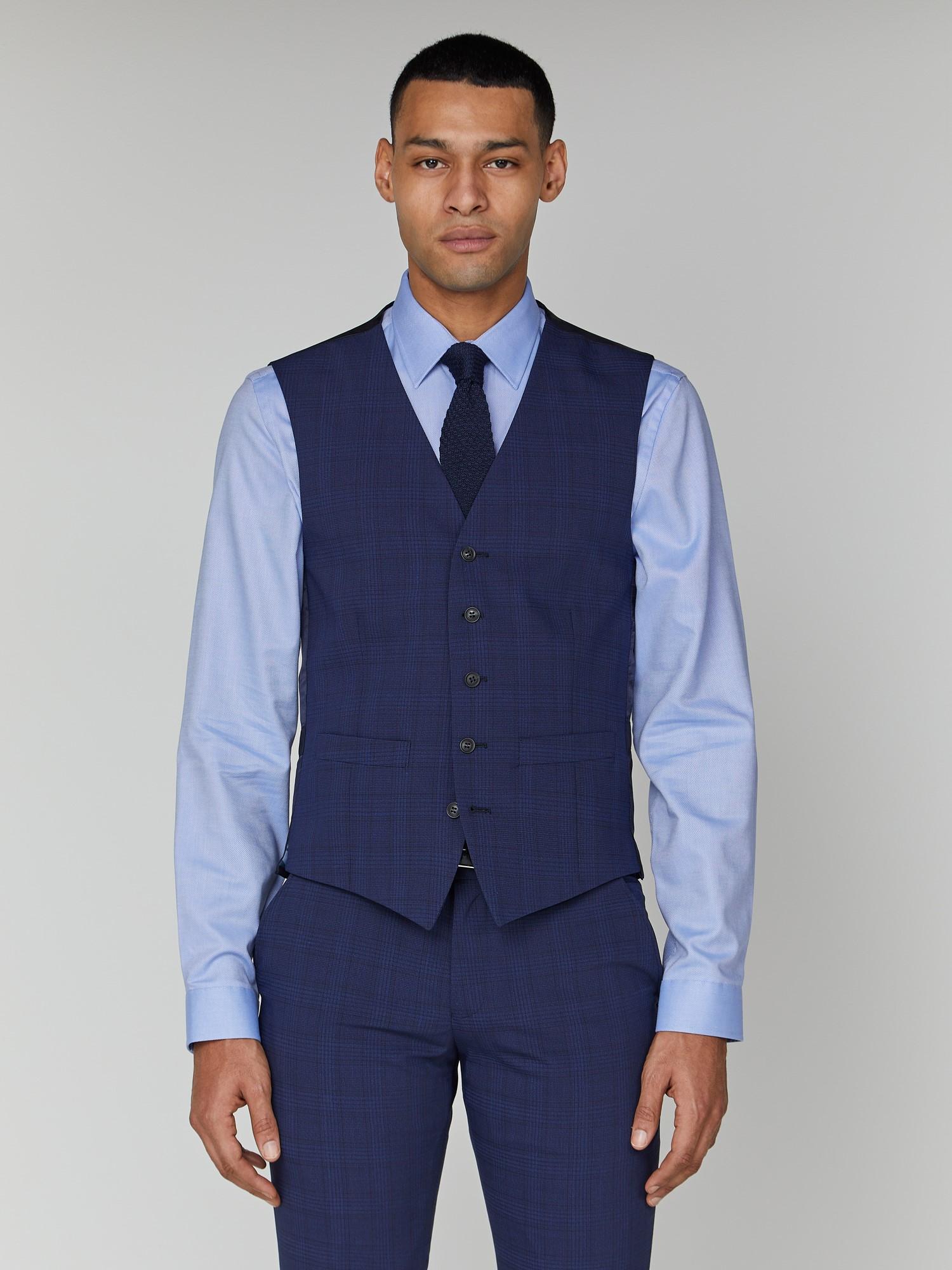 Sapphire Check Stretch Camden Waistcoat