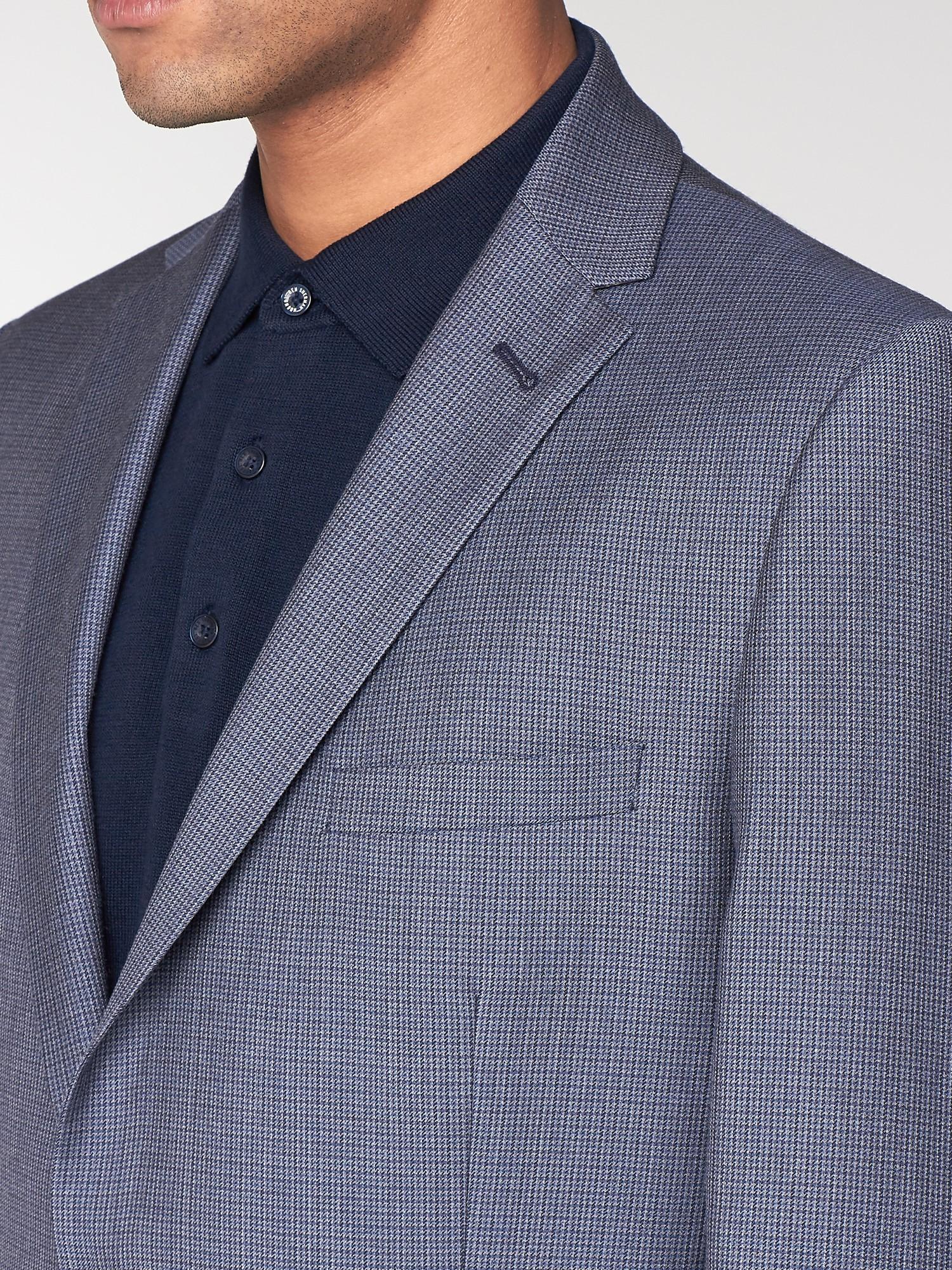 British Blue Micro Gingham Camden Suit