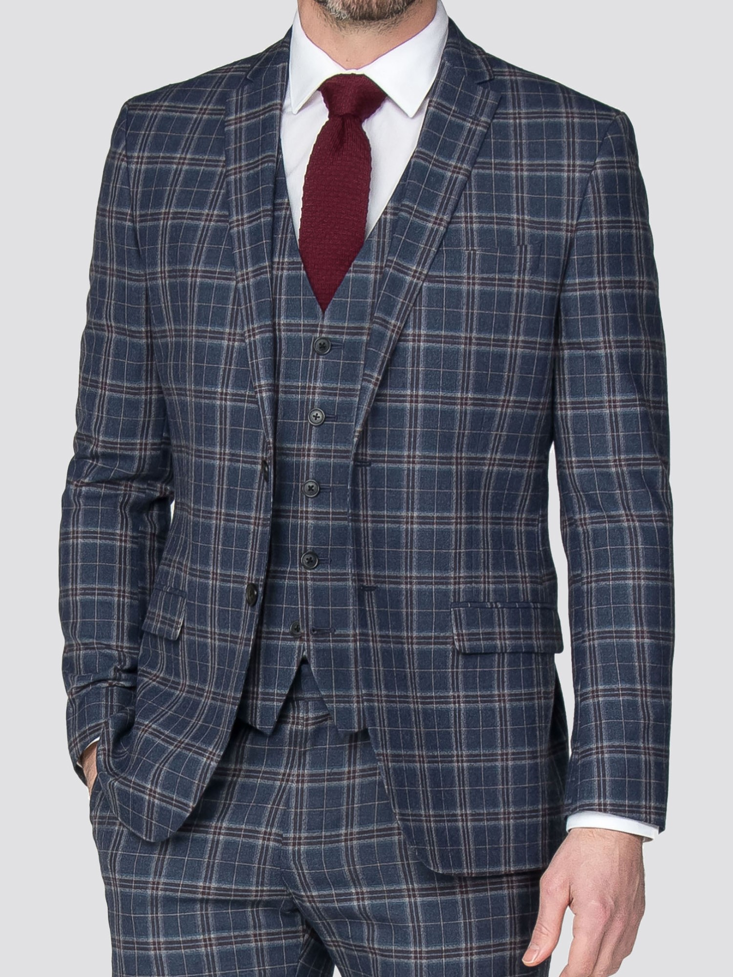 Blue Rust Brushed Check Slim Fit Suit