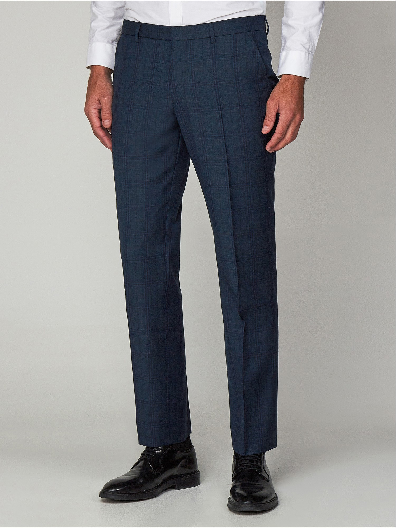 Deep Teal Check Tailored Fit Suit Trousers