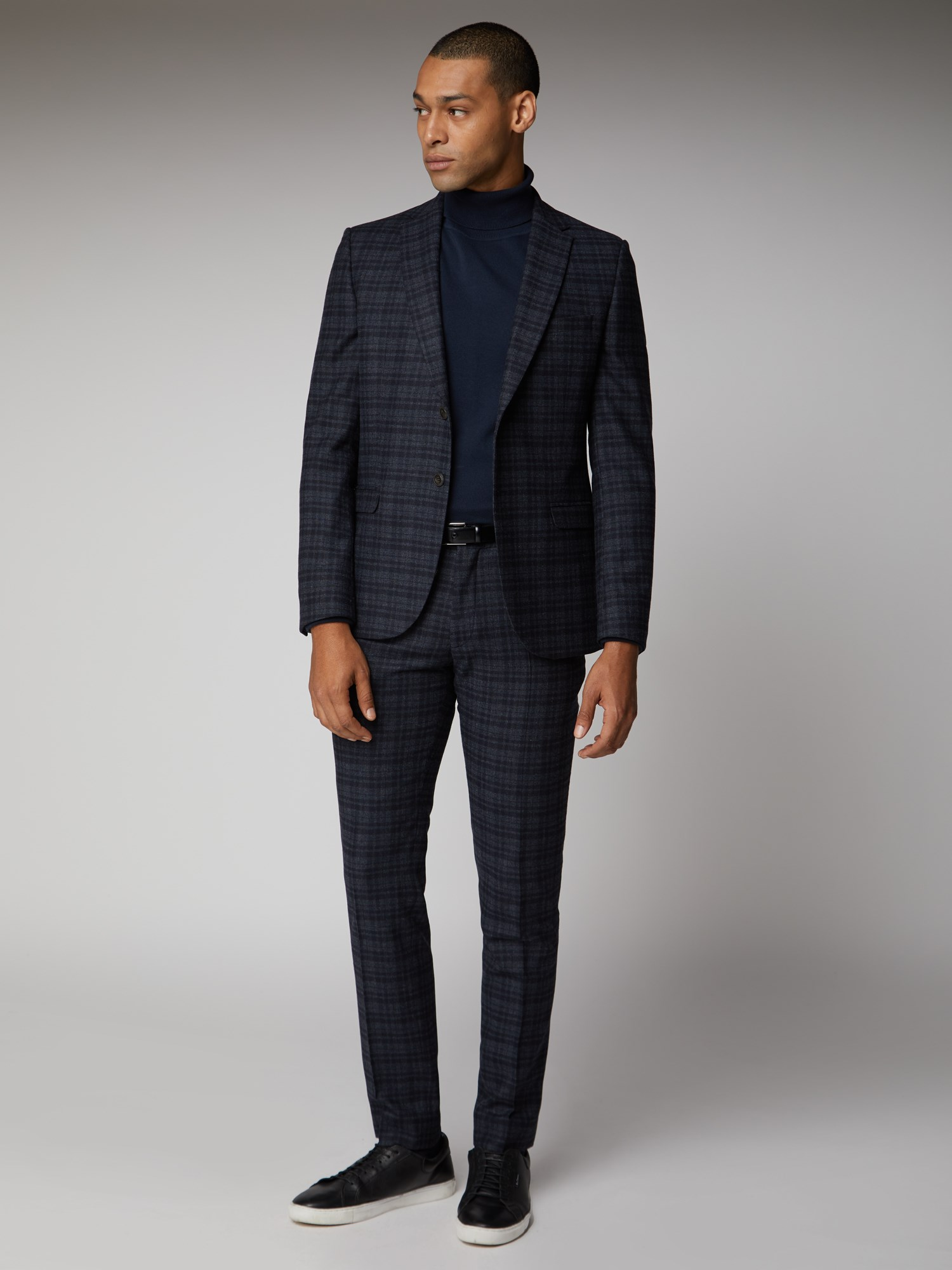 Navy Charcoal Check Suit