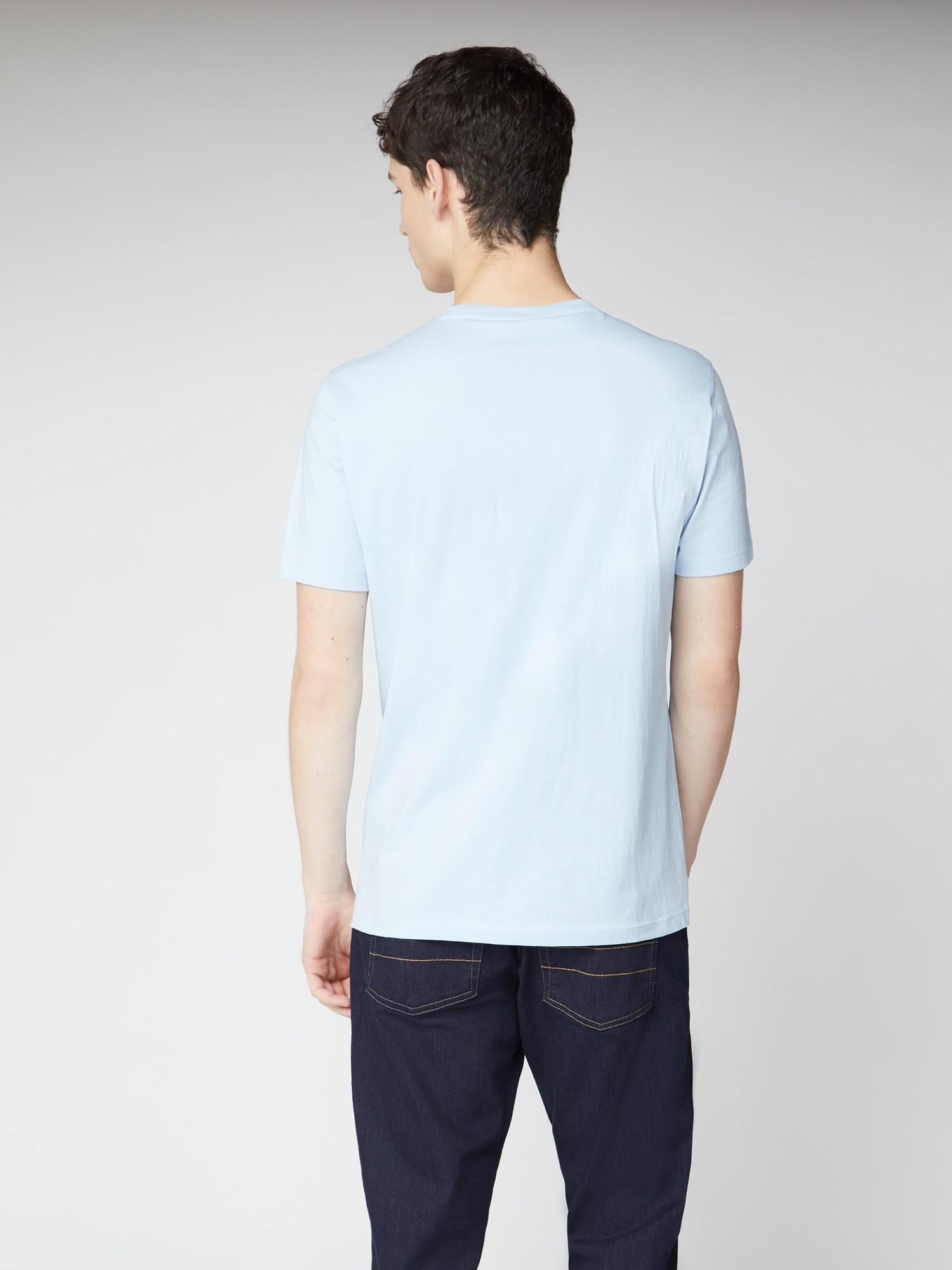 Sky Blue Chest Stripe Logo Print Tee