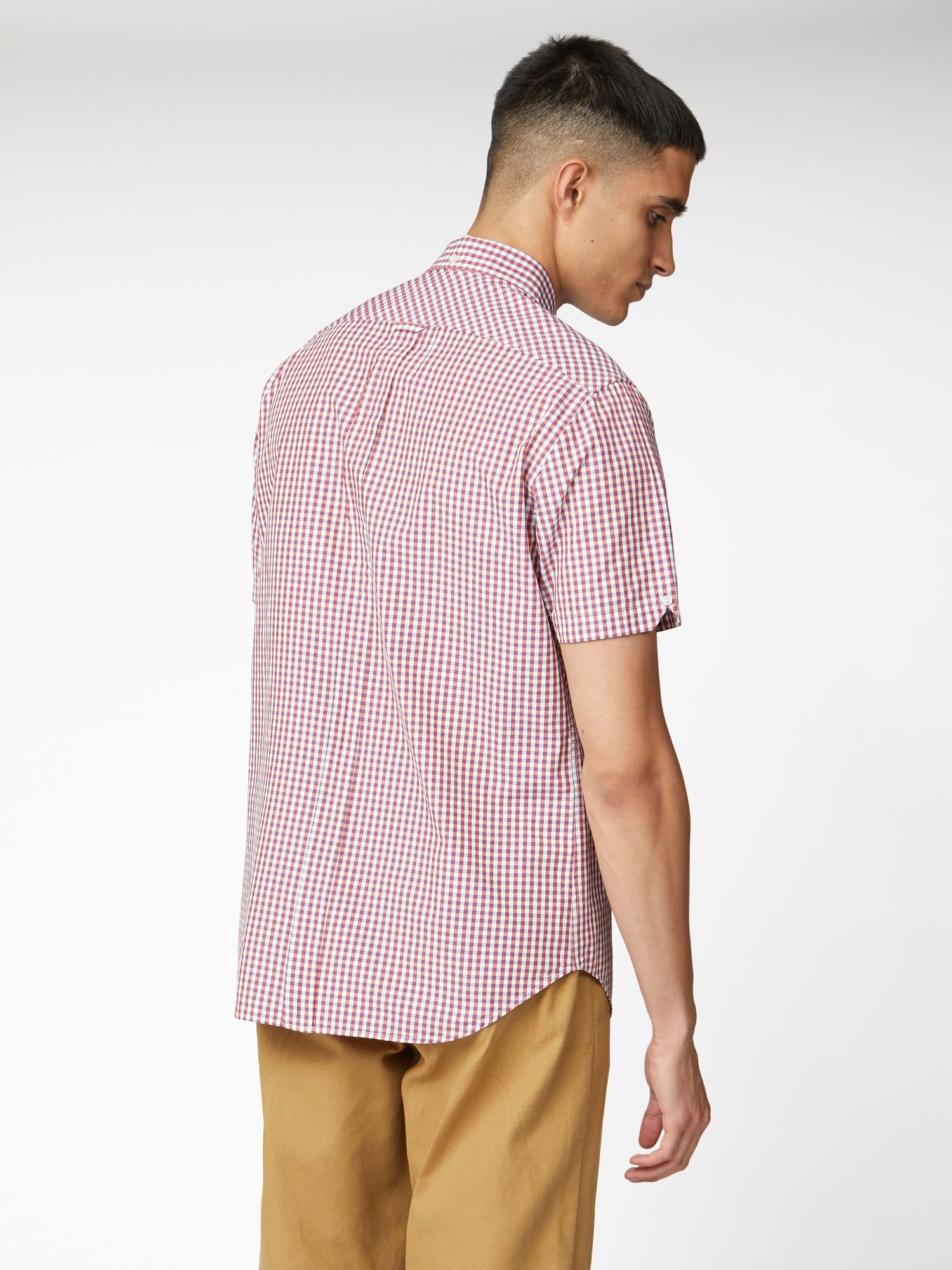 Red Short Sleeve Button Down Gingham Shirt