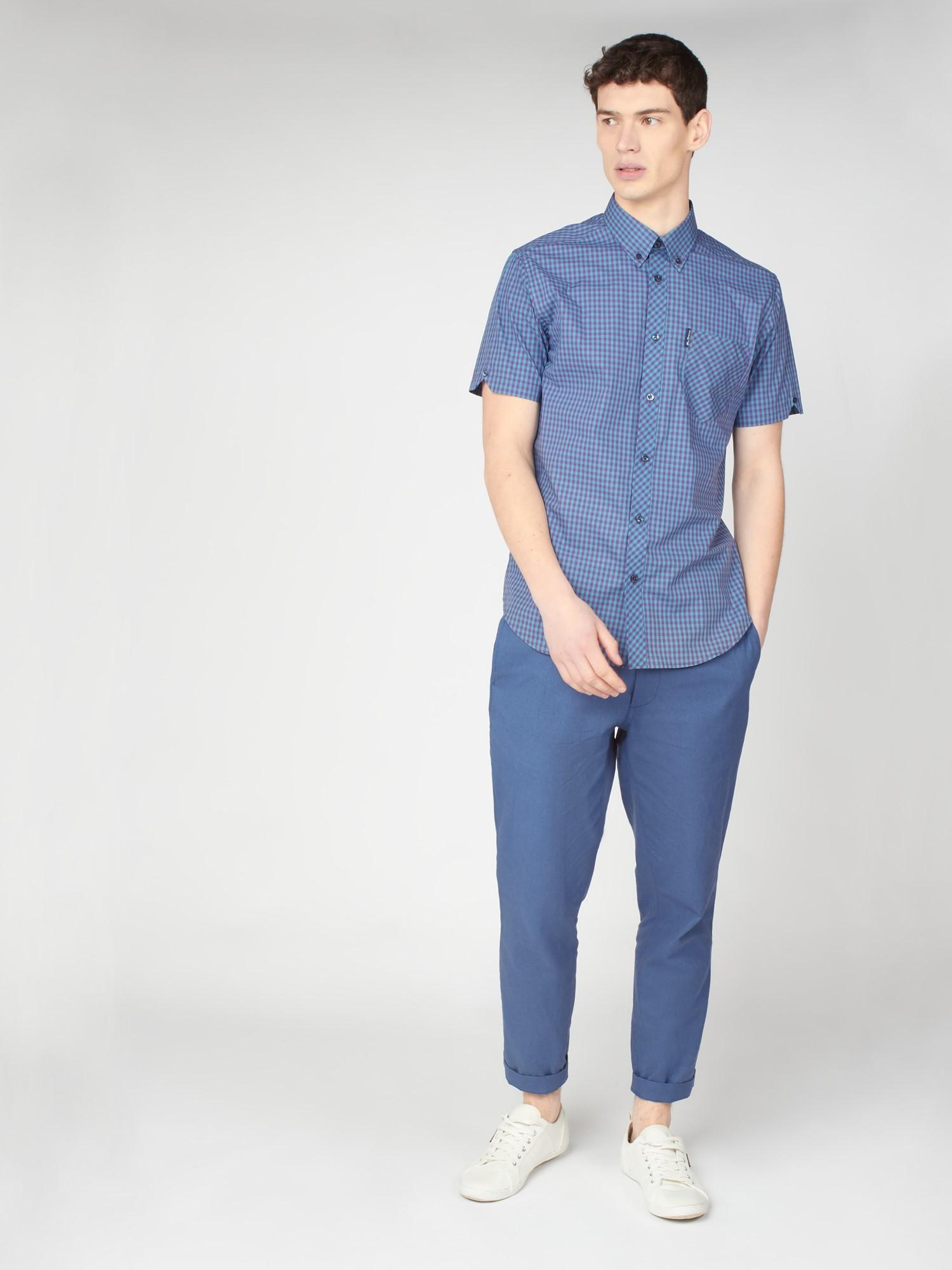 Short Sleeve Button Down Gingham Shirt