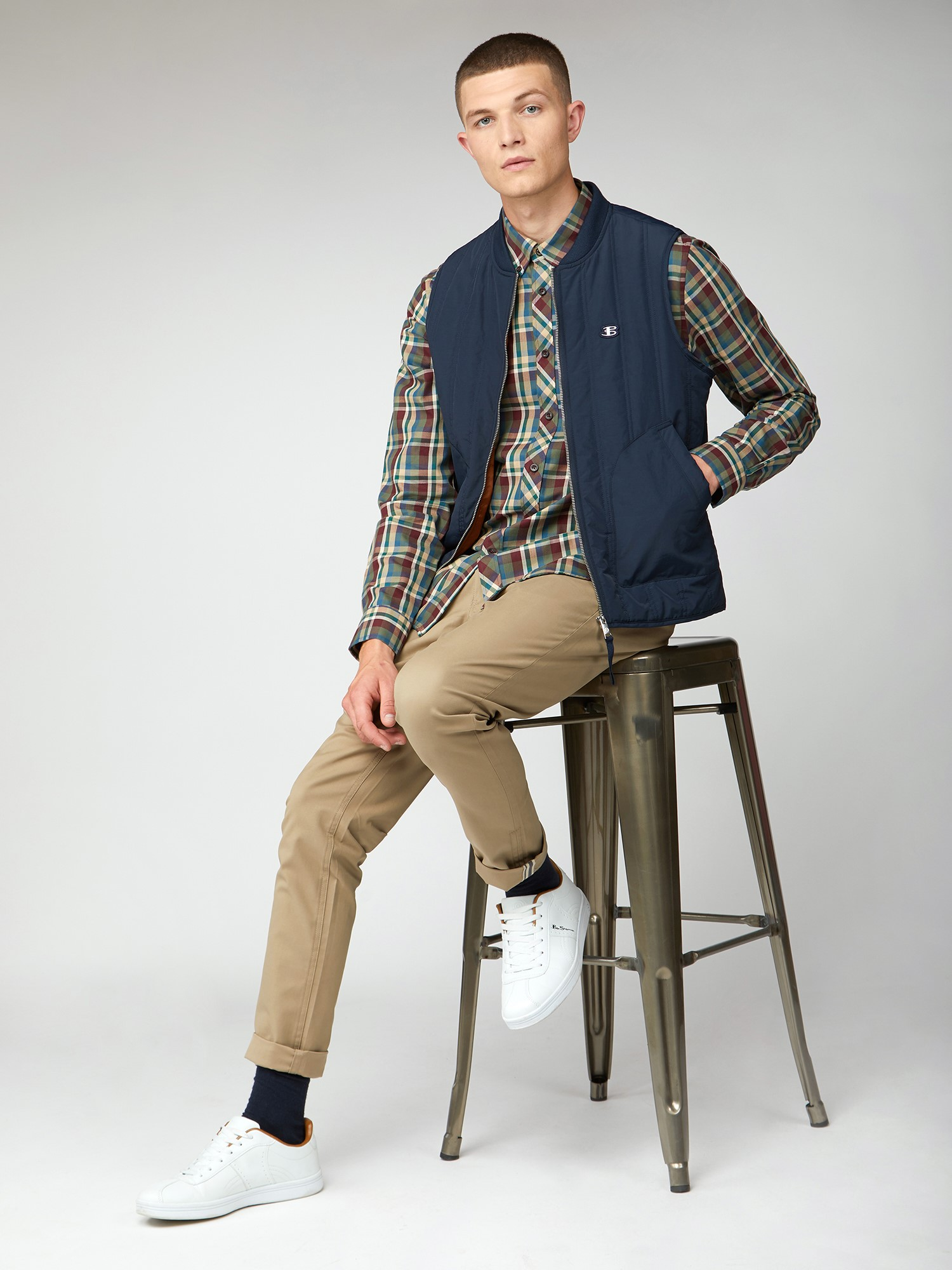 Beige Signature Skinny Fit Stretch Cotton Chinos