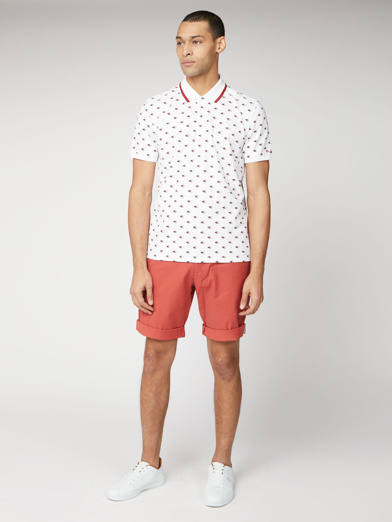 Teracotta Red Cotton Chino Shorts