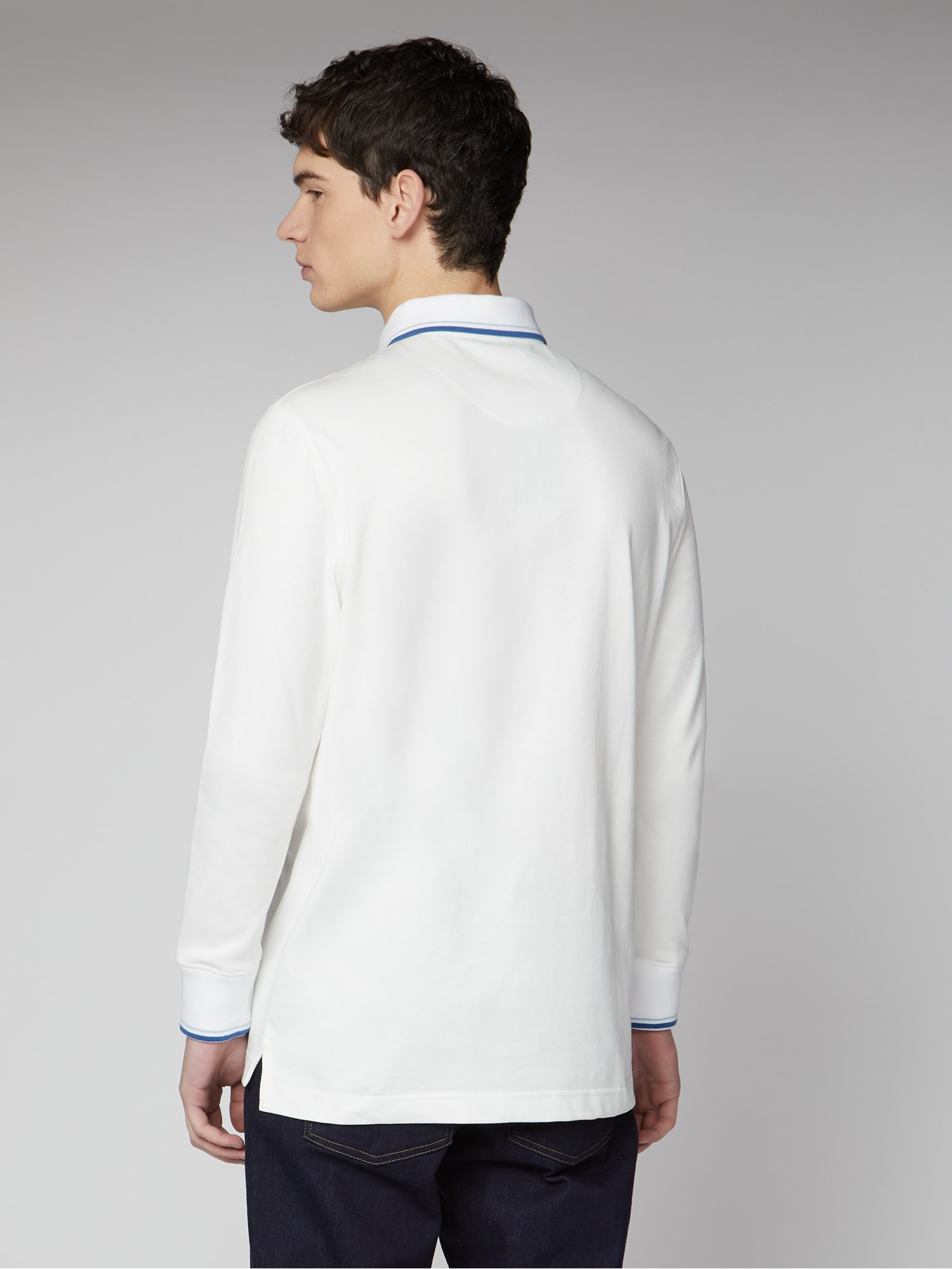White Long Sleeved Rugby Shirt