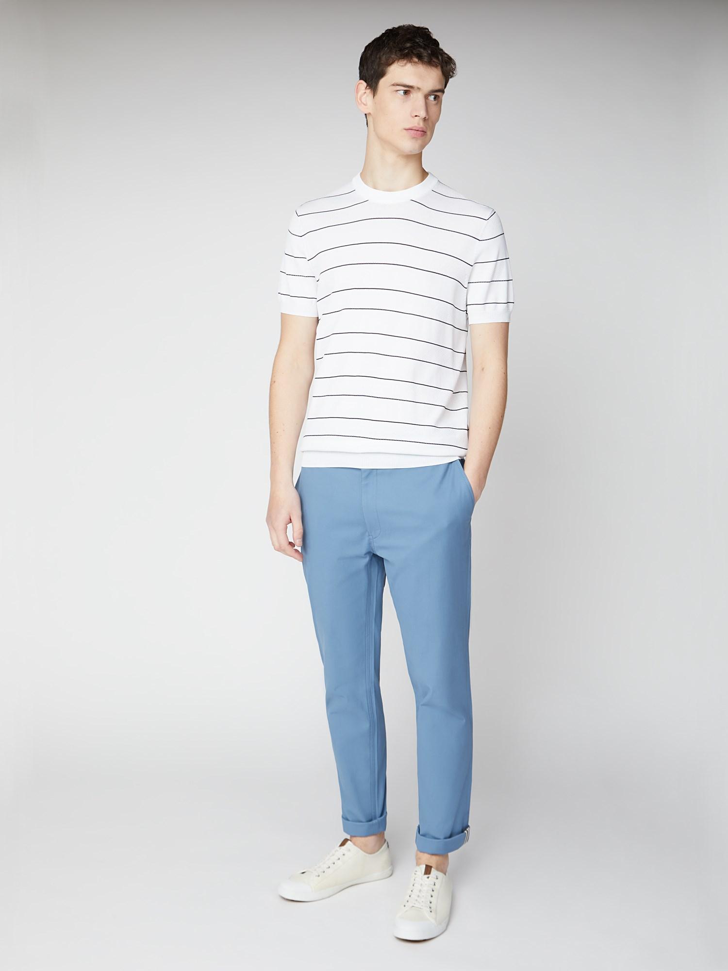 Crew Neck Stripe Knit Tee