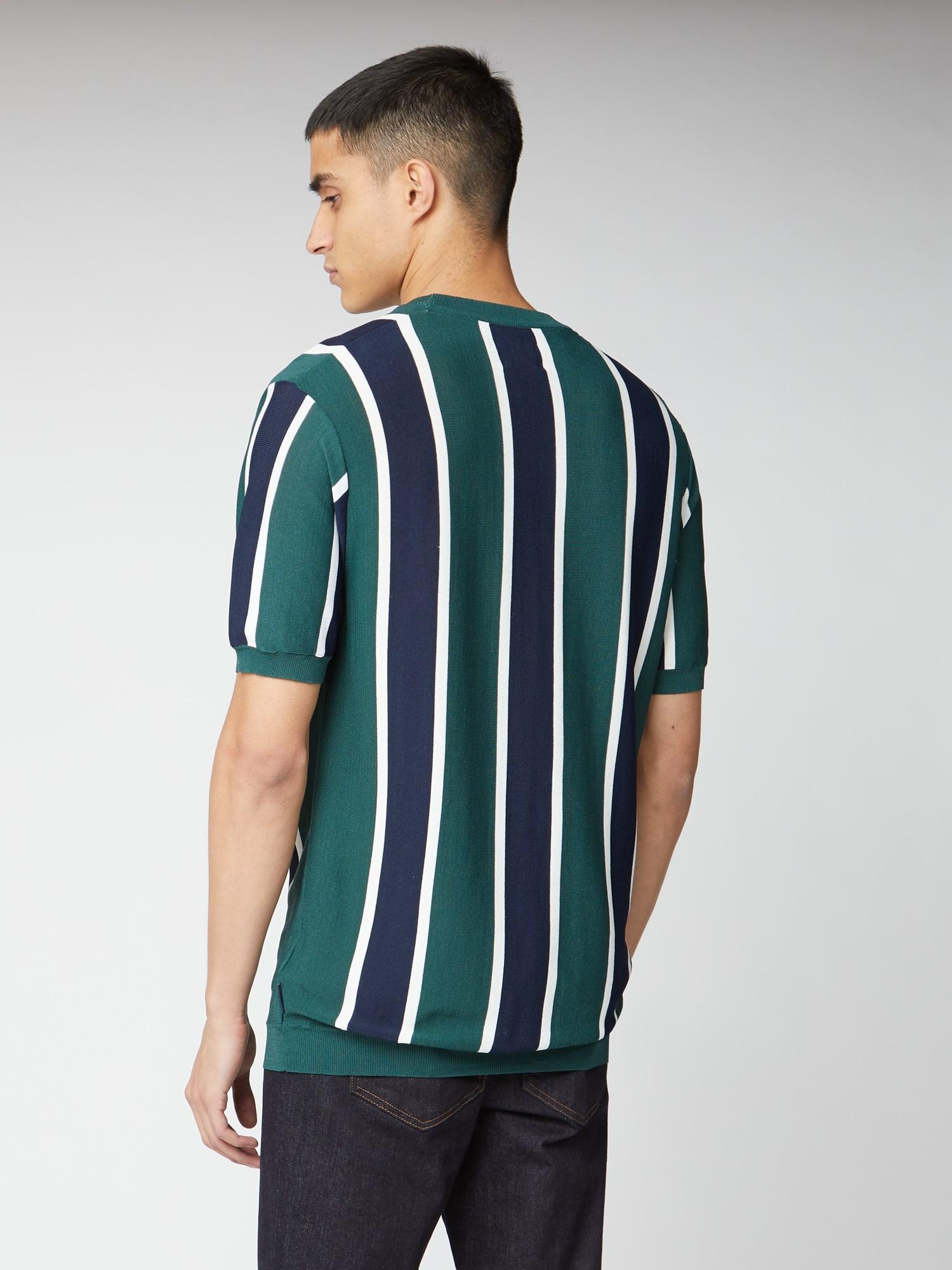 Knitted Vertical Stripe Short Sleeve Crew